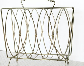 Store It In Style - Gold Metal Mid Century Atomic Style Magazine Rack, Newspaper, Album, Book, or File Holder