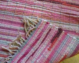 Vintage wool throw rug pink maroon green striped fringed