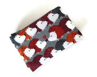Coin Purse / Zip pouch / Change Purse / Business Card Holder in Hedgehog Love Print