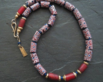 Antique Cornaline D'Aleppos and African Venetian Trade Beads Necklace