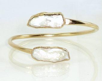Pearl Bangle, Pearl, Pearl Bracelet, Statement Gold Cuff, Adjustable Bracelet Cuff, Pearl Gold Cuff,Open Double Gemstone Bangle,Gold Bangle.