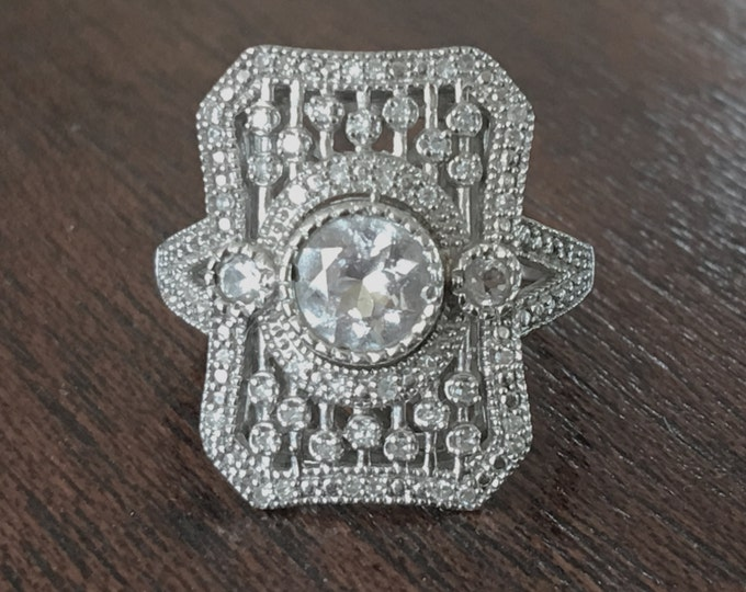 Art Deco Sterling Ring Crystal Pave Diamond Openwork Front Size 7 Engagement Ring