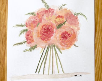 Peonies art flowers watercolor peonies original art orange peony flower bouquet 12 x 16 inches