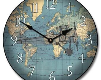 Around the World Airplane Wall Clock