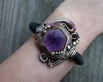 SHIPPING INCLUDED Moroccan Amethyst and Moonstone Cuff Bracelet Bangle