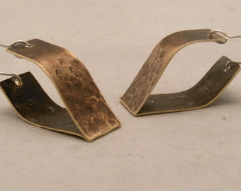 Brass hammered form folded earrings