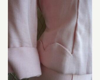 SALE 40s Suit // Vintage 1940s Pale Pink Skirt Suit by Betty Baxley Size S