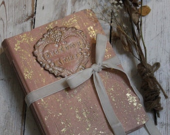 Wedding guest book, salmon pink and gold vintage style wedding guestbook, handmade photo album or scrapbook  8.5x6''