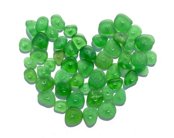 Drilled Genuine Sea Glass Beads, Genuine, Real, 8mm to 20m, Beach Gypsy Soul, Tribal, Artisan, Vintage, Spacer, Green 50