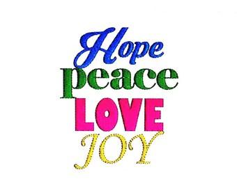 Hope Peace Love Joy Embroidery Design
