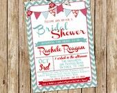 PRINTABLE Retro Bridal Shower invitation, 5x7 typography Bridal shower invitation with red and teal banners, digital, printable file