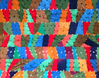 """Awesome 1960's Hand Stitched Crazy Quilt in Colorful Geometric Design / Full Size 67"""" x 74"""""""