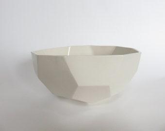White geometric bowl, Ceramic salad bowl, Ceramics and Pottery, geometric minimalist