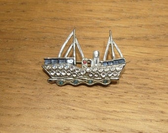 Vintage mid century chrome plated boat brooch, ship brooch, fishing boat brooch, trawler brooch