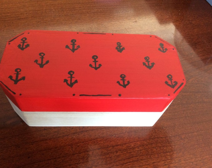 Solid Wood Box with Hinged Lid - Black Anchors painted on Lid