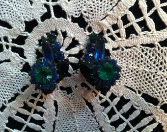 Vintage 1930's Clip On Earrings with Multi Colored Gemstones