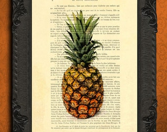 pineapple print | pineapple decor | summer wall decor | vintage pineapple poster | summer fruit art