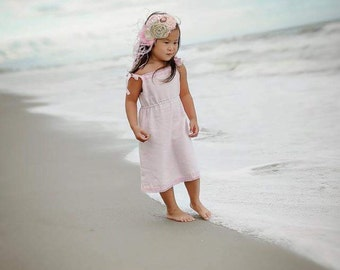 Flower girls dress D12 summer spring baby soft pink linen with French lace