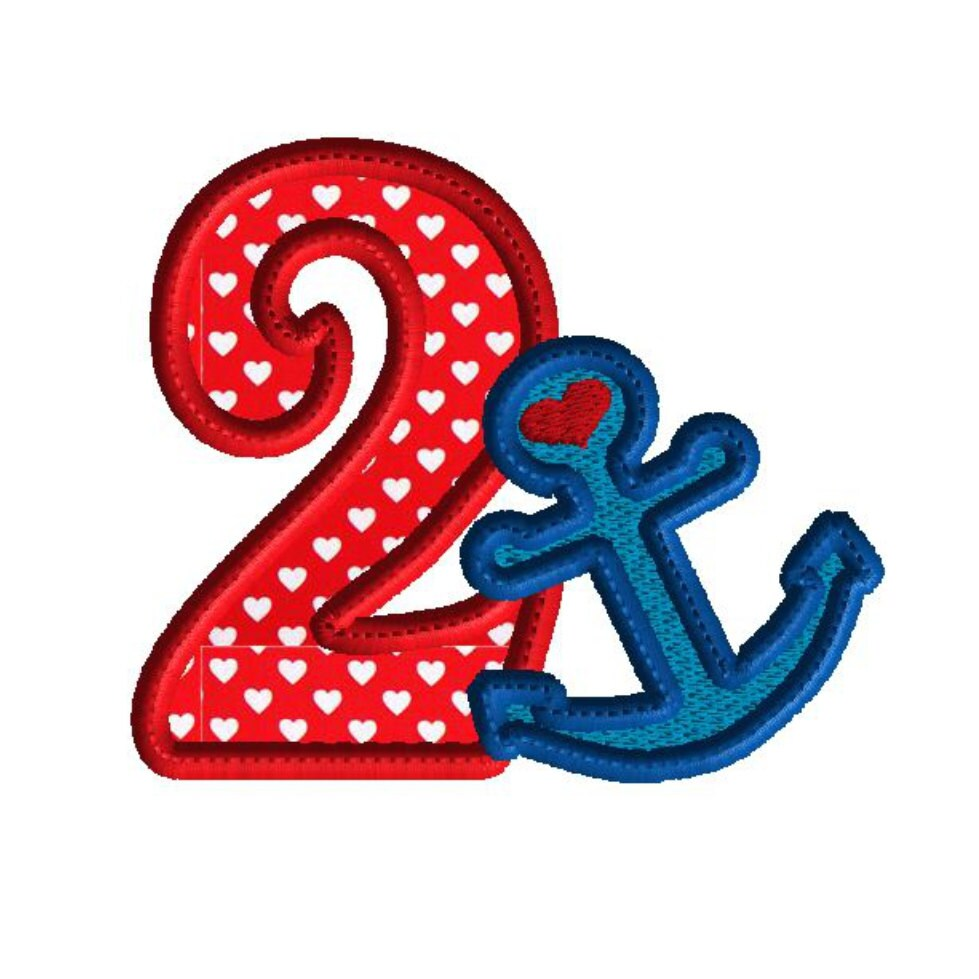 Embroidery design number applique machine