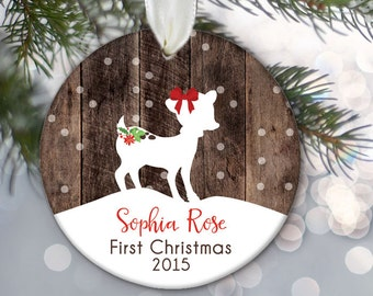 Baby First Christmas, Girl Baby's First Christmas Ornament Baby, Personalized Baby ornament Fawn Ornament Deer Ornament Faux/fake Wood OR363