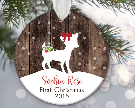 Baby's First Christmas Ornament Baby Girl Ornament Fawn