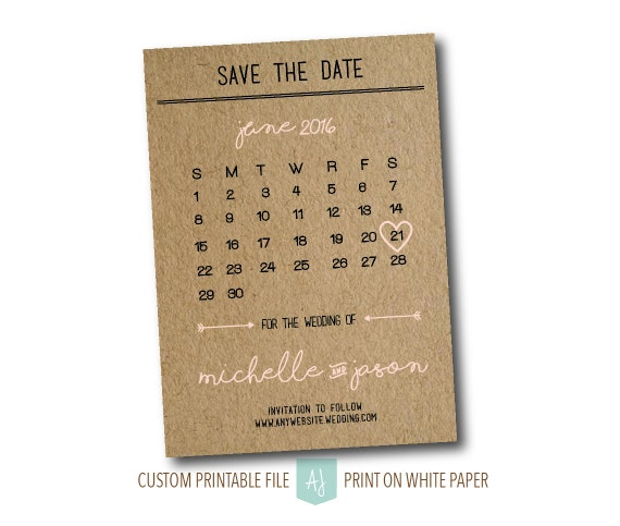 calendar save the date diy printable digital file save the date