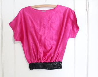 Vintage Hot Pink Satin Top with Black Sequin Waist band