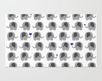 Elephants with Dark Blue Hearts - Floor Rug - Floor Mat - Room Rug - Bathroom Decor - Throw Rug - Nursery Art - Made to Order