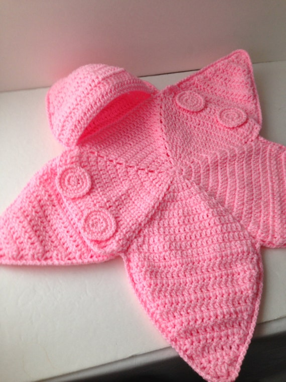 Baby Bunting Bag Pink Star Bunting Handmade Crochet Made