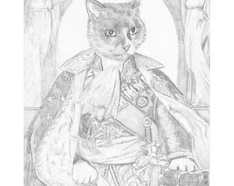 Cat Prince Pencil Study, Original Artwork, Cat Portrait