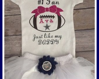 Personalized baby football outfit, team football onesie, football onesie and tutu set