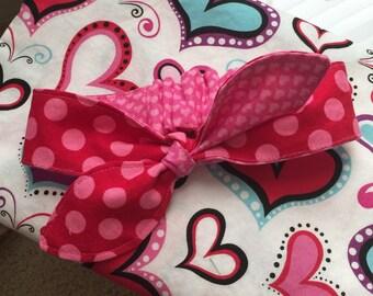 Girls knotted headband, reversible headband, toddler headband, knotted headband, valentine's headband, child headband, little girl headband,