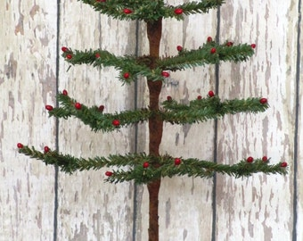 Primitive Faux German twig tree with red pip berries