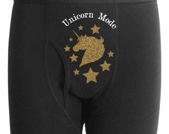 Custom Magic Unicorn Mode Boxer Briefs Valentine's Bachelor Party Wedding Man Gift Husband Boyfriend Sexy Underwear Gag Bachelor Party Funny