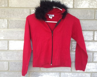 90s red black furry collar sweater
