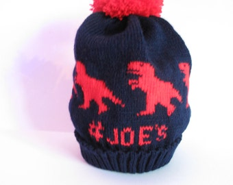Personalized knitted dinosaur hat