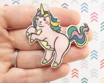 Unicorn Cat Brooch - Unicorn Cat Pin -  cat pin -Rainbow Cat Unicorn - cat jewelry-Unique Boutonnière