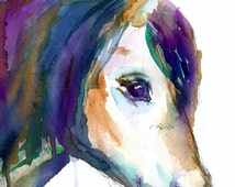 Summer Sale Horse Watercolor Print, 8 x 10 Print, Watercolor Horse, Horse Painting, Animal Painting, Nursery Art,  Pony Painting, Abstract A