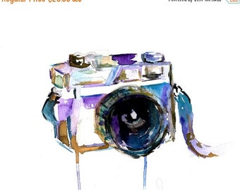 ON SALE I Turn My Camera On by Jessica Buhman 8 x 10 print of original watercolor painting, Photography Camera Painting