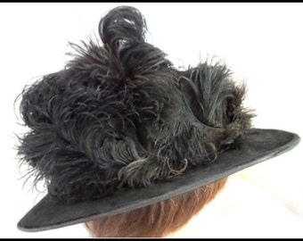 Hat SALE Vintage Ostrich Feather Black Hat