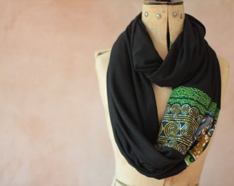 Infinity scarf - African Green Print, Eternity Scarf, Circle scarf, Jersey scarf, Tube scarf, Loop scarf, Snood, T-Shirt scarf