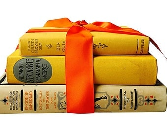 Yellow & Orange Book Stack, Set of Three, Tom Sawyer in Dutch, Danish Songs, Charming Display, Gift Decor Prop, Orange Ribbon, Home Staging