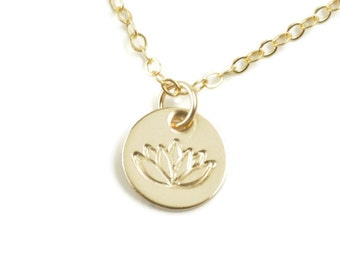 Lotus Necklace Yoga Pendant Flower 14k Gold Filled Chain Hand Stamped GIft Dainty Zen Flower Charm