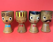 Wooden egg cup set, Painted faces, Anthropomorphic, Set of 4, 1960's
