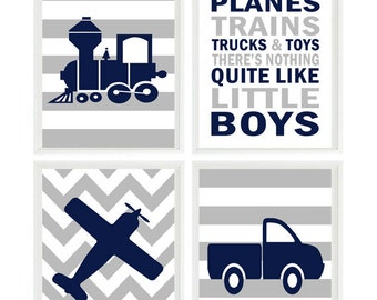 Baby Boy Nursery, Train, Planes Truck, Nursery Prints, Navy Gray Decor, Little Boys Quote, Boy Room Art, Big Boy Room, Toddler Boy, Gift