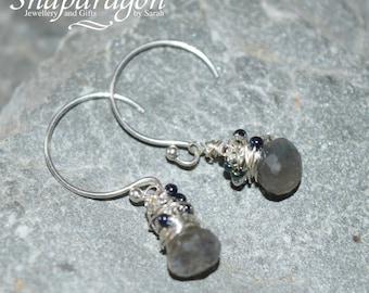 Dainty Labradorite messy wrapped sterling silver onion briolette earrings