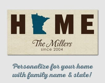 "Custom Canvas Print 10"" x 20"" - Home State Family Name Canvas"