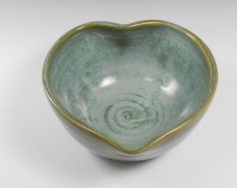 Heart serving dish - decorative serving bowl - heart candy dish - blue green heart bowl -  B110