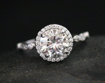 8mm Round Forever Classic Moissanite and Diamond Halo Engagement Ring in 14k White Gold (Also Available in Platinum and 18k Gold)