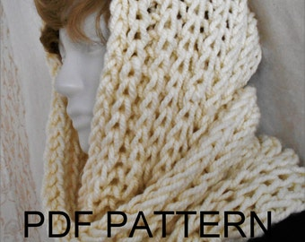 PDF KNITTING PATTERN for easy knit super chunky bulky infinity scarf cowl neckwarmer snood hood  fall winter accessory  natural white